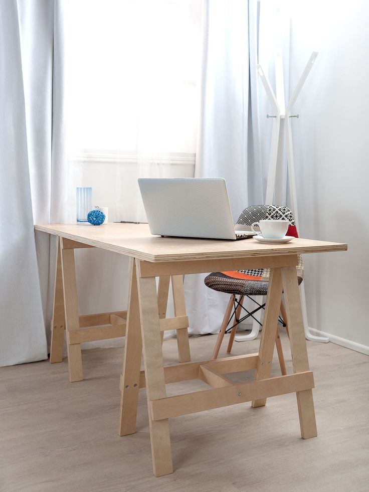 Simple Small DIY Home Office Furniture Decoration With DIY Wood Trestle Desk With Wood Leg Fabric Accent Chair And Glass Window With White Curtains