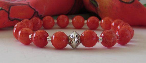 Red Bead Bracelet / Red Jade Bead Bracelet / by BeadablesBracelets