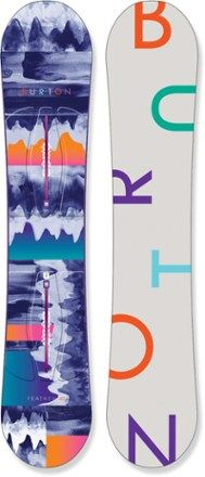 The laid-back and relaxed design of the women's Burton Feather snowboard provides an effortless feel that makes learning and improving fast and fun. Available at REI, 100% Satisfaction Guaranteed.