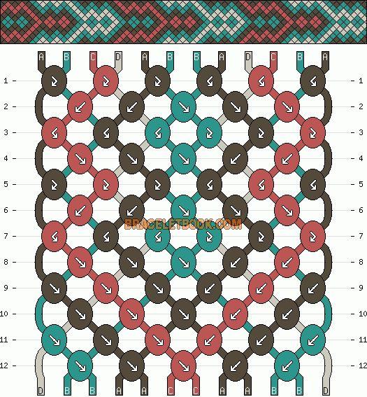 Normal Friendship Bracelet Pattern #2424 - BraceletBook.com