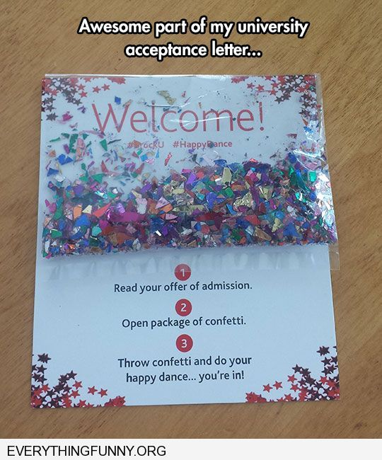 Funny Awesome College Acceptance Letter With Confetti Http