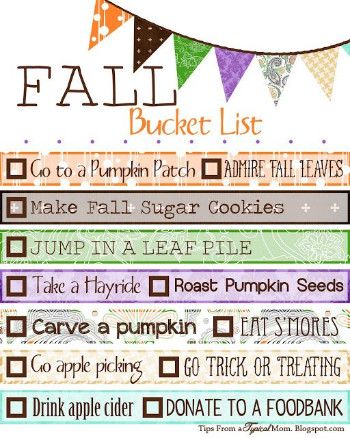 Free Fall/ Autumn Bucket List Printable