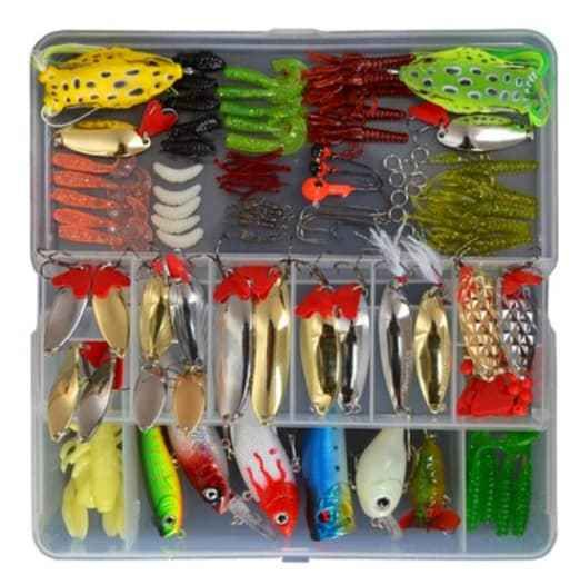 Fishing Lures 129 Piece Lot Set Tackle Box Kit Freshwater Saltwater Bait w/ new #Ecome