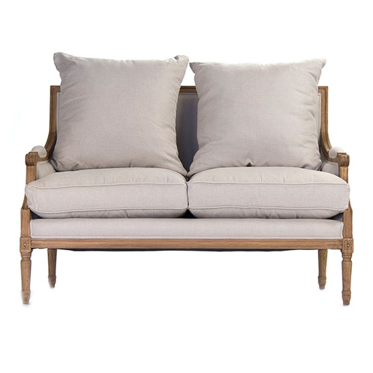 This Light Linen Upholstery Gives Settee A Nonchalant Elegance The Frame Is Carved Of Oak Hardwood Valued For Its Durability Distinctive Grain