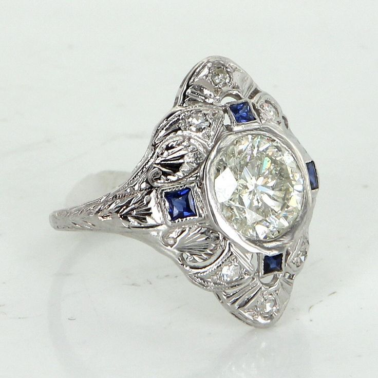 Vintage Art Deco 2.28ct Diamond Sapphire Cocktail Ring Estate Platinum Jewelry Fine