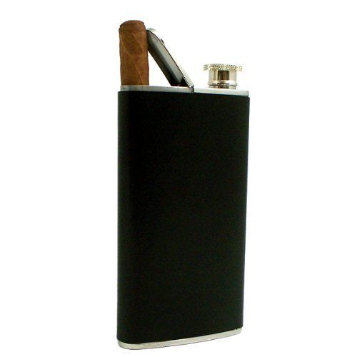Stainless Steel Flask with Cigar Holder and Leather Case, Black, 4 oz by Officethrive. $51.00. Size: 4 oz. Color: Black. Satinized key ring flask. Material: Leather, Stainless Steel. Tarnish proof. Gift your loved ones this stainless steel cigar holder with black leather case. This stainless steel cigar holder with black leather case is cute gift for your loved ones .This stainless steel cigar holder with black leather case is well designed to carry small liqui...