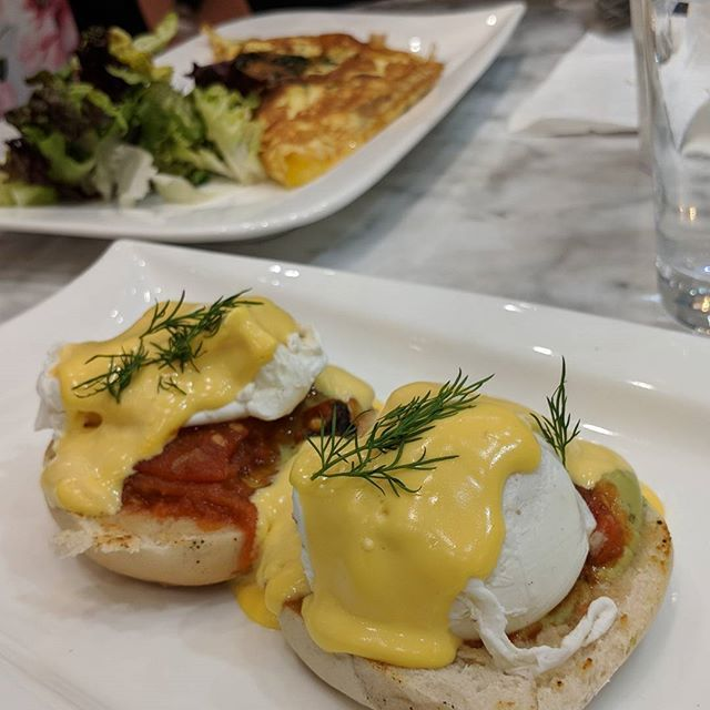 Breakfast At Pearls Tea Room Bradford Here Is The Eggs California Which Consists Of Toasted Muffins On A Bed Of Avocado Halal Recipes Spinach And Cheese Food