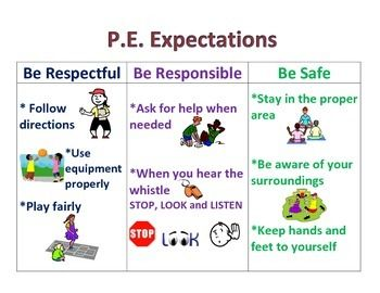 Physical Education Positive Behavior P.E. Expectations Poster