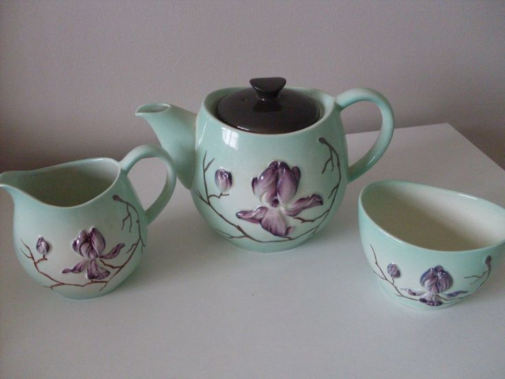 BEAUTIFUL CARLTON WARE CONVULVULUS TEAPOT + SUGAR BOWL + JUG PERFECT | eBay
