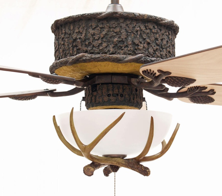 Love this....rustic ceiling fan w/antler light fixture for great room.