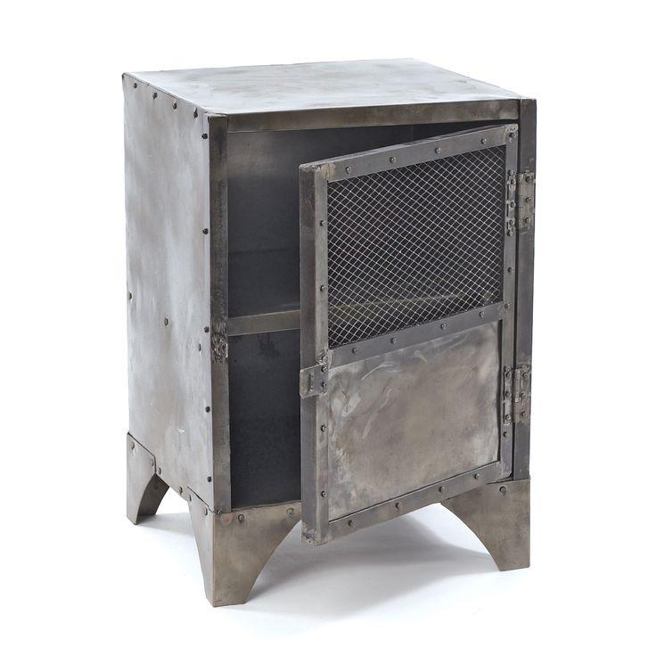 Rustic steel locker nightstand for Rustic industrial end table