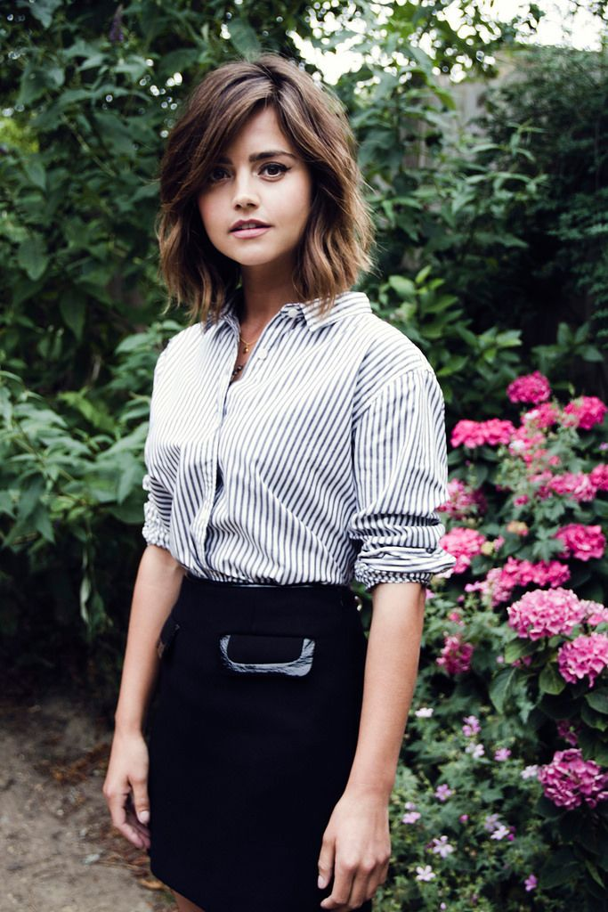 jenna coleman.  medium haircut.  thick hair.  light layers.