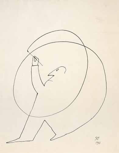"Saul Steinberg (1914-1999). Untitled, 1948. Ink on paper, 14 1/4 x 11 1/4"".  Beinecke Rare Book and Manuscript Library, Yale University. http://www.saulsteinbergfoundation.org/gallery.html"