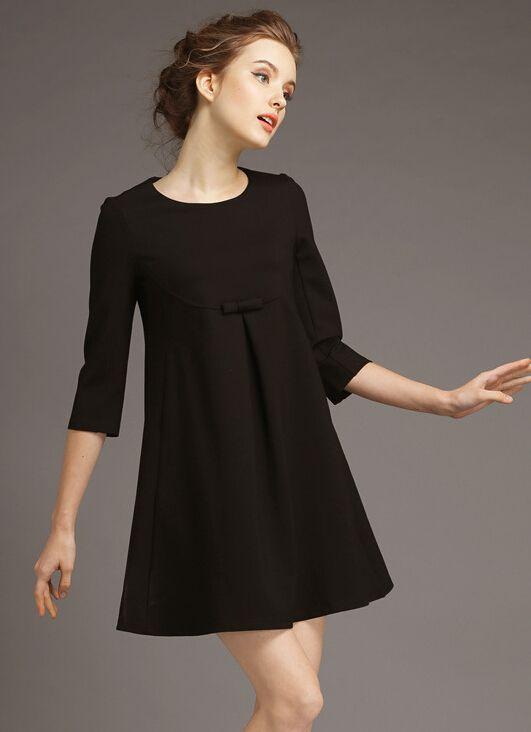 robe décontractée en dentelle col rond -Noir 24.00