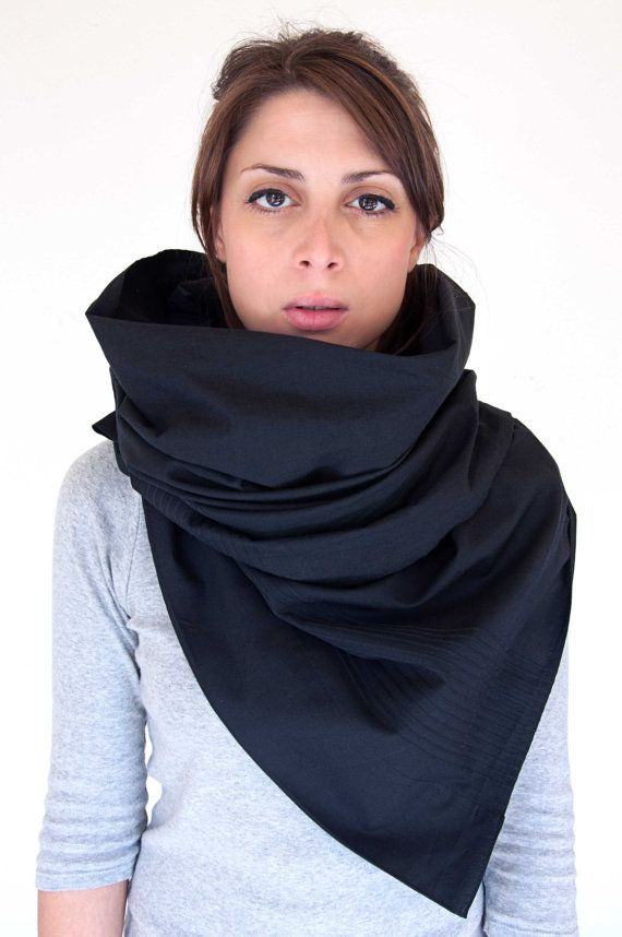 Large Wrap Scarf  oversized shawl in black cotton by clothbotshop