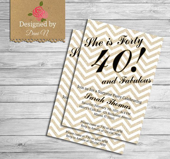 40th Birthday INVITATION, Gold glitter, Any Age, 50th Birthday invitation, 30 Birthday invitation, 21st Birthday Invitation, Adult party #handmade #gifts