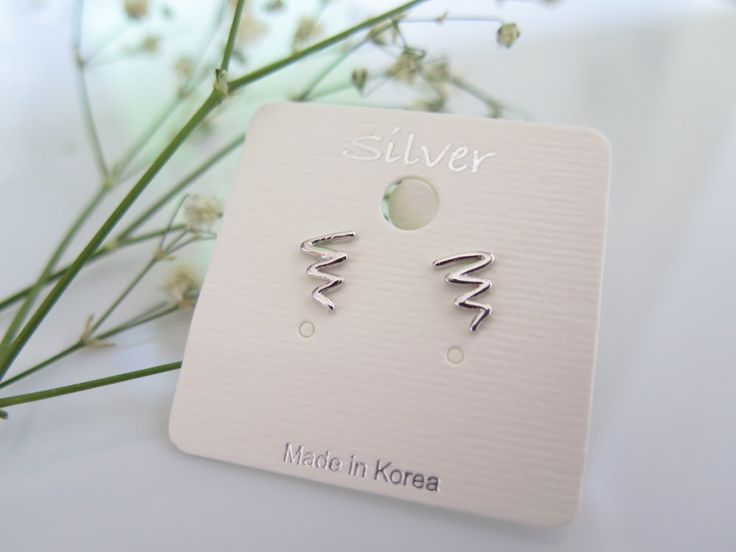 925 Sterling Silver Earrings/waves Earrings with Gift box /simple post earring/waves earring by thinlight on Etsy