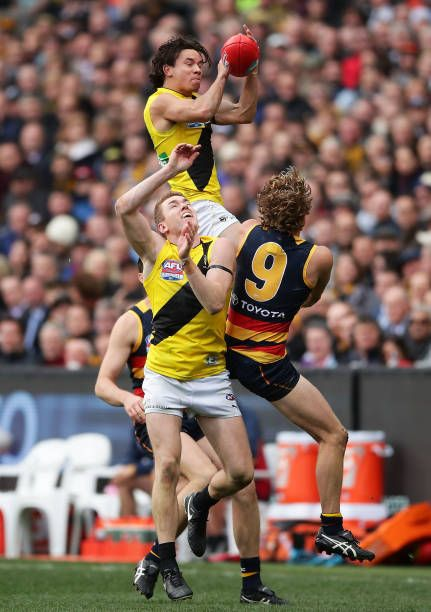 Daniel Rioli of the Tigers takes a mark during the 2017 AFL Grand Final match between the Adelaide Crows and the Richmond Tigers at Melbourne Cricket...