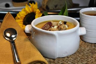 ... COTTAGE: Pumpkin Soup with Crumbled Bacon, Blue Cheese, and Croutons
