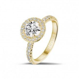 Geelgouden Diamanten Verlovingsringen - 1.00 caraat Halo solitaire ring in geel goud met ronde diamanten