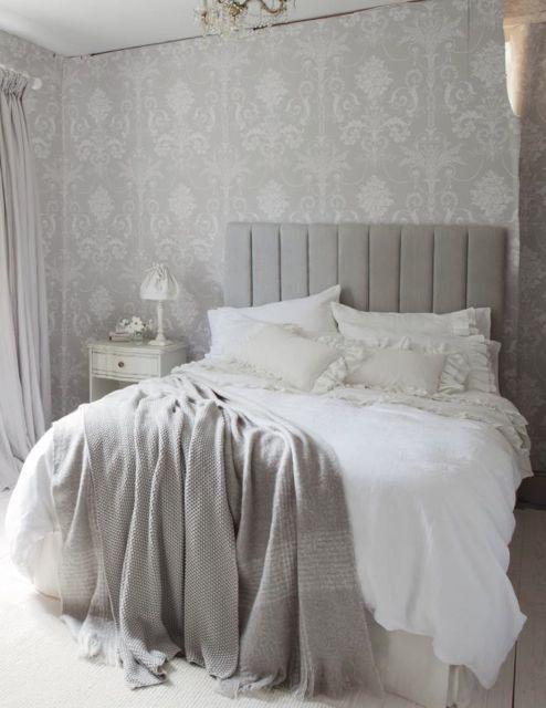 Casual chic, grey and white bedroom Laura Ashley...I would like to find curtains with the wallpaper print and have a light blue/grey simple wall color.