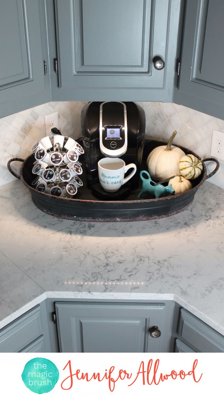 4 Ways to style Decorative Trays by Jennifer Allwood of theMagicBrushinc.com. This table decor functions as a coffee station. Tray Decor is a fun way to decorate for fall and the holidays, style coffee tables and counters. Just put a cute tray under it and make it table decor!
