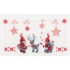 """Christmas Elves On Aida Counted Cross Stitch Kit-11""""X6.75"""" 14 Count"""