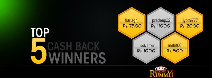 #Congratulations to the Top 5 Players of Week!!!  Every week Top 5 #players will #win a share of Rs 15,000 #CASHBACK.  For more details about the offer check the link below >>  https://www.classicrummy.com/free-rummy-cash-back-offer?link_name=CR-12