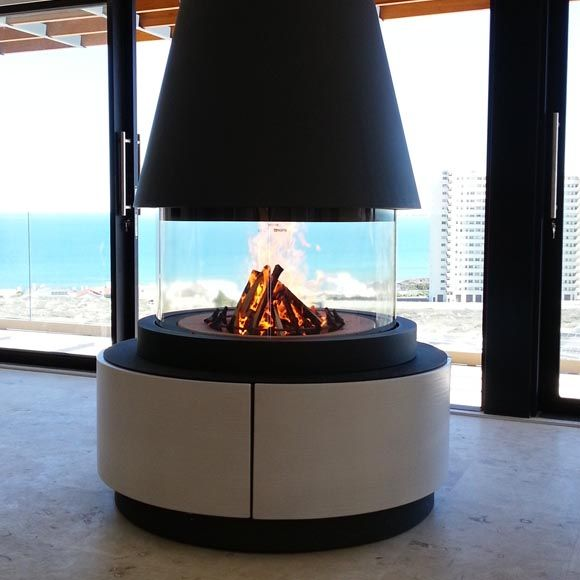 Stunning M360 fireplace installed in the Atlantic Seaboard #fireplace #fire #seaview