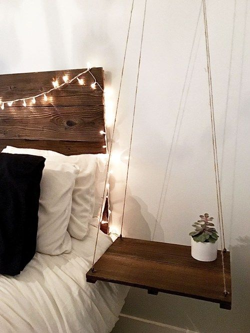 Up cycled fence boards to Rustic Chic Headboard & Hanging Bedside Table