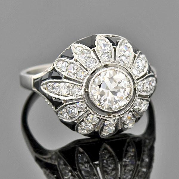 Art Deco Platinum Diamond Onyx Engagement Ring 0.90ct
