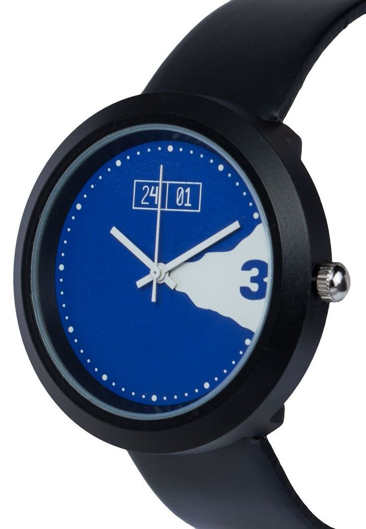 Men's Faux Leather Strap Watch by 24:01. Casual watch with minimalist look, this black faux leather watch look so eye catching, with black strap, round case, and a touch of a blue color. Perfect watch for casual style.%0A%0A http://www.zocko.com/z/JG9Xn