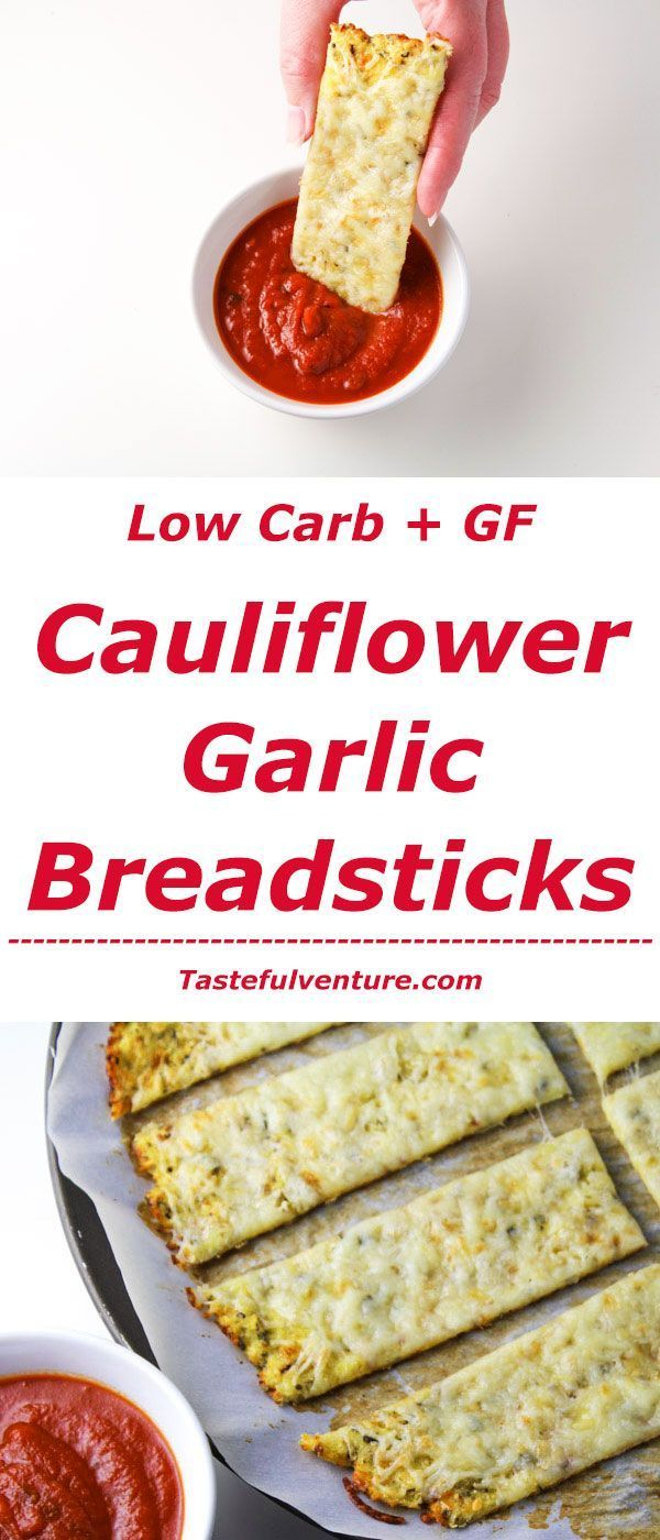 awesome These Low Carb Cauliflower Garlic 'Breadsticks' are guilt free and so delicious!...
