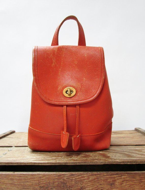 2ed8338d98854 Coach Vintage Distressed Orange Leather Small Turn Lock 9960 Daypack  Backpack - HEAVILY SCRATCHED, S