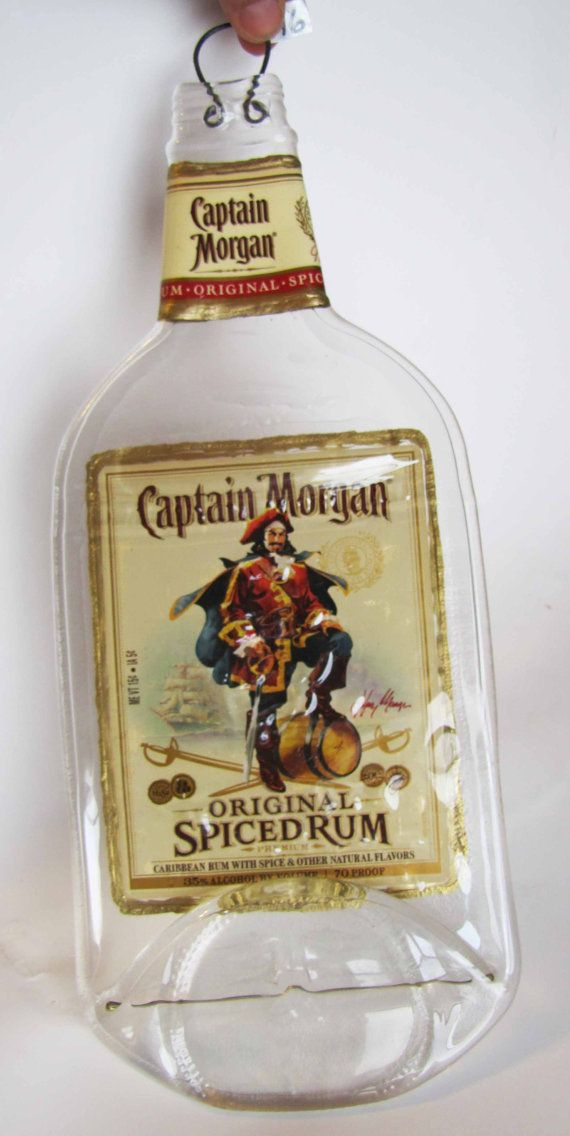gift idea. Captain Morgan bottle slumped with both labels appetizer dish wall hanging. by MeltingZone