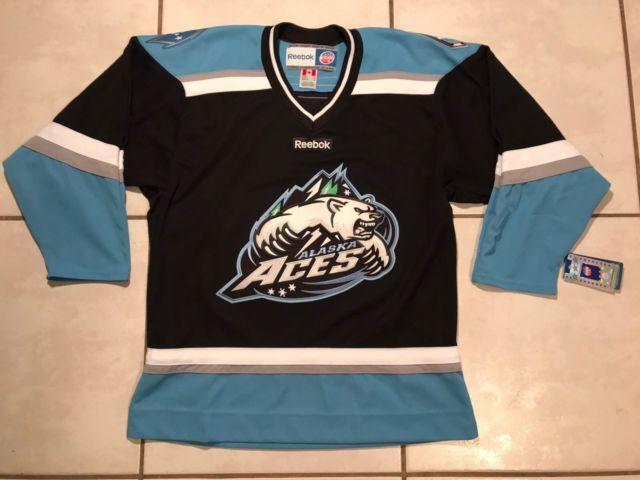 NWT REEBOK ALASKA ACES ECHL Hockey Blank Jersey Men's Medium   eBay