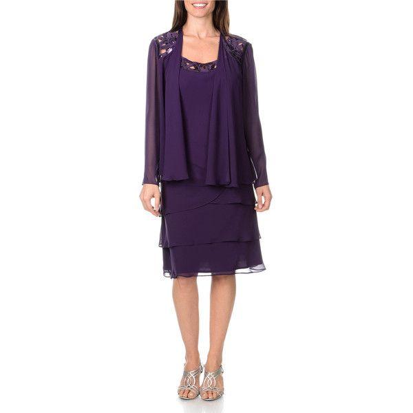 S.L. Fashions Women's 2-piece Eggplant Dress