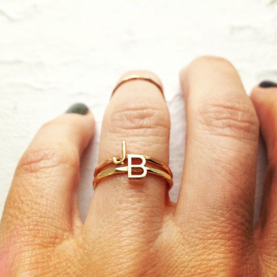 One Initial Stacking Ring 14 karat gold rose yellow by shopjules