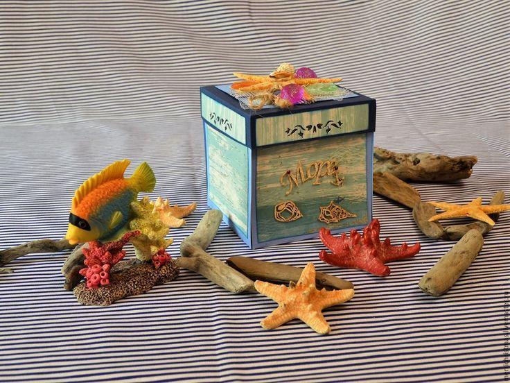 """Купить Открытка коробка с сюрпризом """" Подарок с моря"""" - синий, открытка, Открытка ручной работы"""