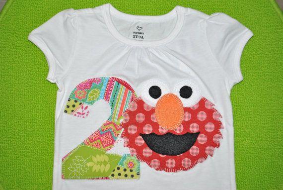 Elmo Birthday Applique T Shirt custom orders by Greenebaby
