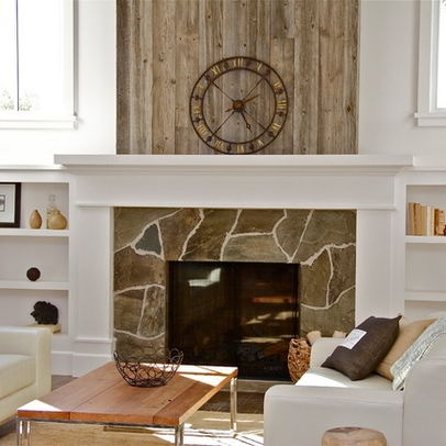 Wood Fireplace Surround Design Stone Around Reclaimed