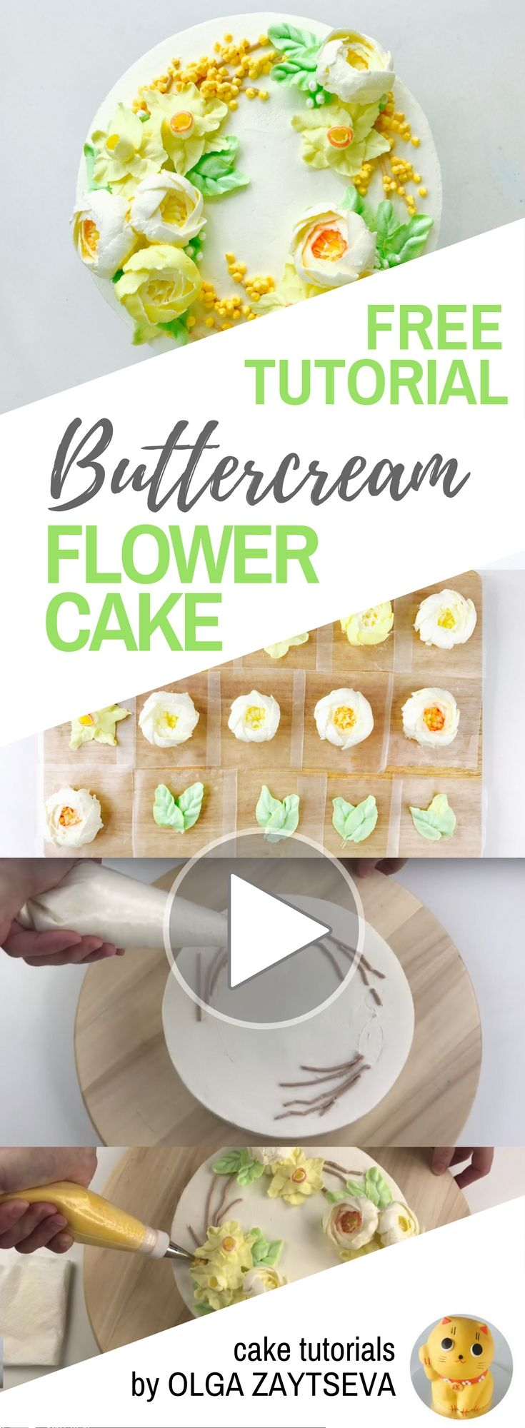 HOT CAKE TRENDS How to make Daffodils and roses Buttercream flower cake - Cake decorating tutorial by Olga Zaytseva. Learn how to pipe Daffodils and Roses and create Spring inspired buttercream flower wreath cake.