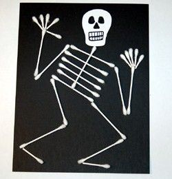Halloween Q-tip Skeleton Craft - I've done these with the kids. Some young children had trouble understanding the use of q-tips for art! Came out cute!
