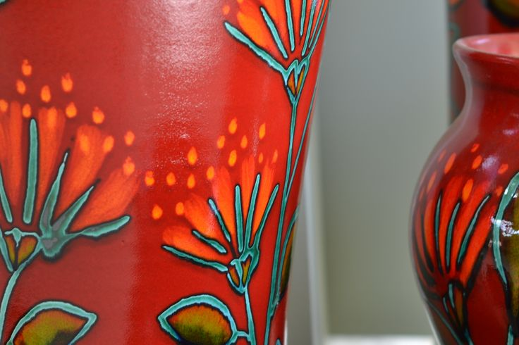 One of our vibrant classic designs on pots and panels: Pohutukawa  www.morrisandjames.co.nz