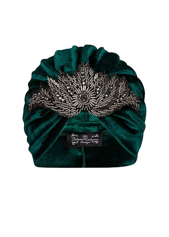 Green Velvet Turban with Gunmetal Bead Applique by TheFHBoutique, £30.00 wonder if i could pull this off