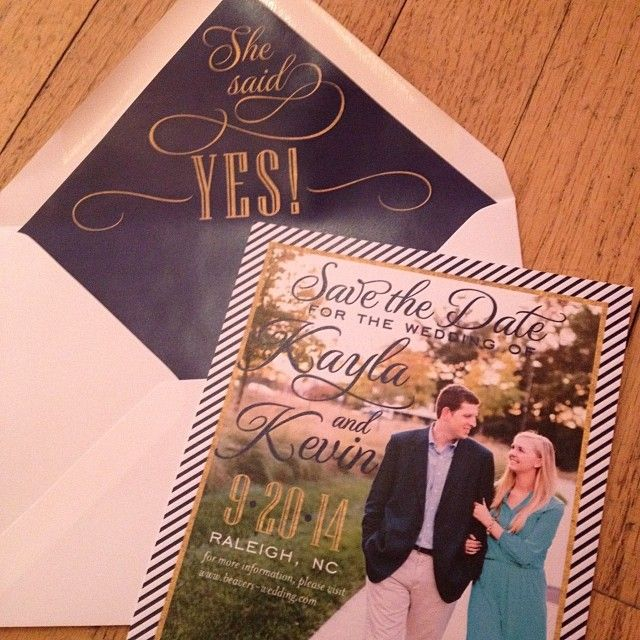She said YES!! #Preppy and chic #save the #date in #gold and #navy I Custom by Nico and Lala