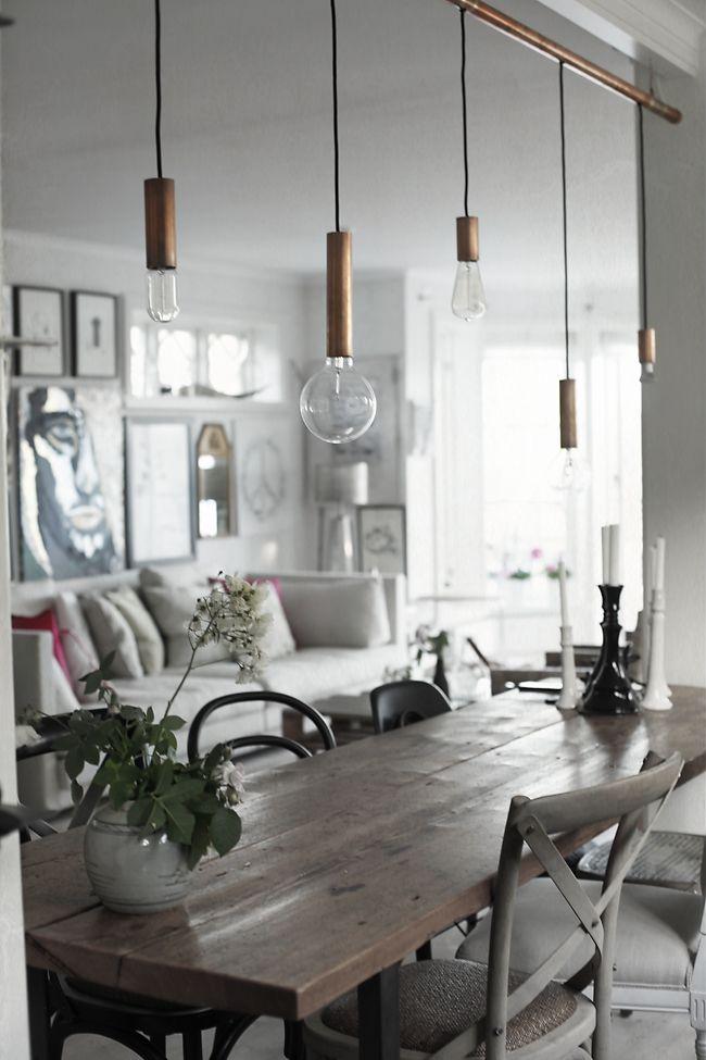 DIY – Middagsbord av plank, DIY – Taklampa av koppar! | @my casa