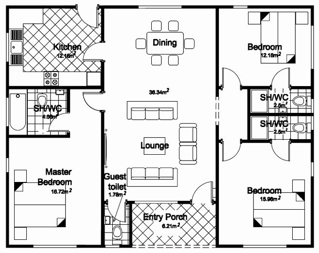 3 Bedrooms Bungalow House Plans Elegant Plan Bedroom Detached Bungalow Home Boys Quarte Bungalow Floor Plans Modern Bungalow House Design Modern Bungalow House