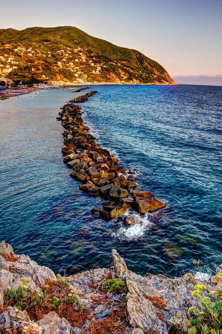 Moneglia's wave-braker, Moneglia, Province of Genoa, Liguria region Italy