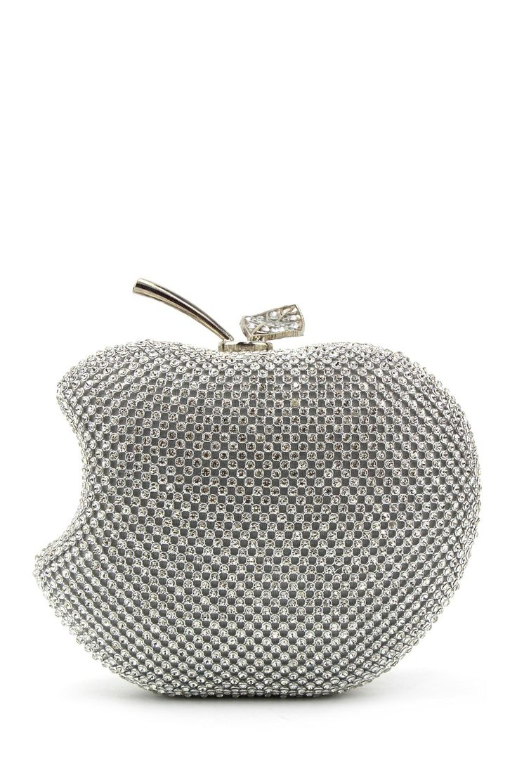 Fruit Shaped Rhinestone Evening Bag - SILVER